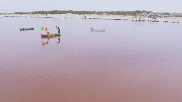 The shores of the Pink Lake (Lake Retba) Senegal in the