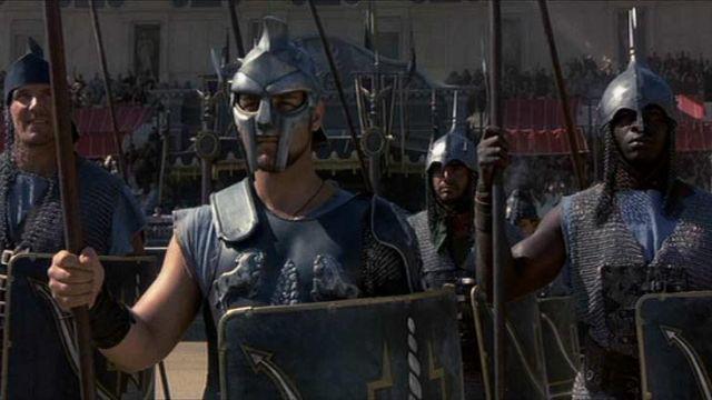 The replica of the helmet gladiator Maximus Decimus (Russell Crowe) in Gladiator