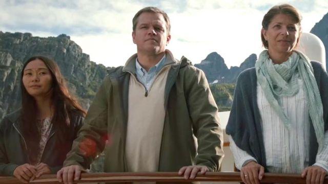 The sweatshirt beige zip Paul Safranek (Matt Damon) in Downsizing
