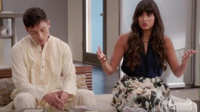 H&M Calf-length Floral Printed Skirt worn by Tahani Al Jamil (Jameela Jamil) as seen in The Good Place S02E09