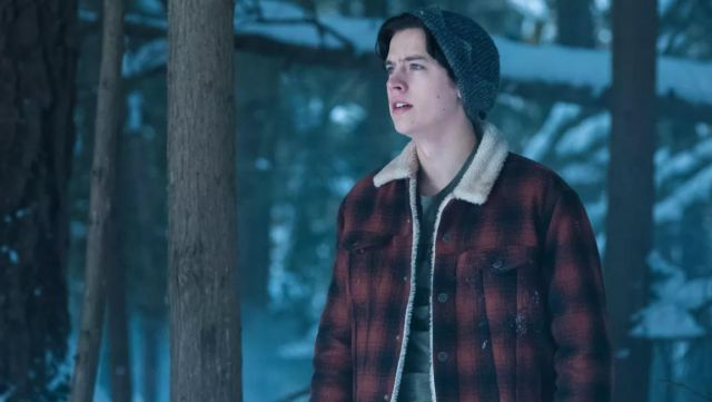 The jacket is plaid with a fur collar worn by Jughead Jones (Cole Sprouse) Riverdale Season 1 Episode 13