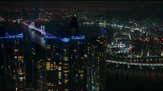 The suspension bridge, Gwangan Busan in South Korea in Black Panther