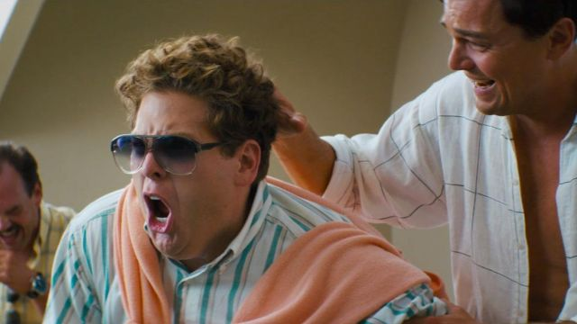 White Green Striped 90s Shirt worn by Donnie Azoff (Jonah Hill) as seen in The Wolf of Wall Street
