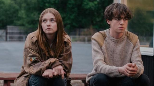 Brown sweater worn by James (Alex Lawther) as seen in The End of the Fucking World S01E02