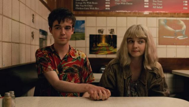 Red hawaiian shirt worn by James (Alex Lawther) as seen in The End Of The Fucking World S01E05