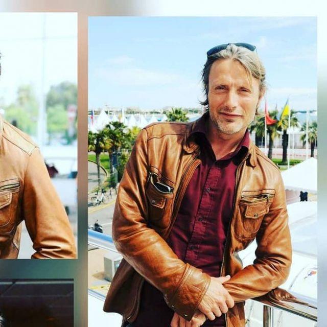 La veste en cuir marron de Mads Mikkelsen sur Instagram