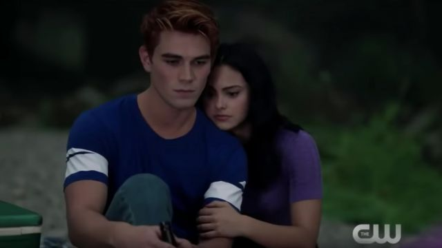 blue and white t-shirt worn by Archie Andrews (K.J. Apa) as seen in Riverdale season 3