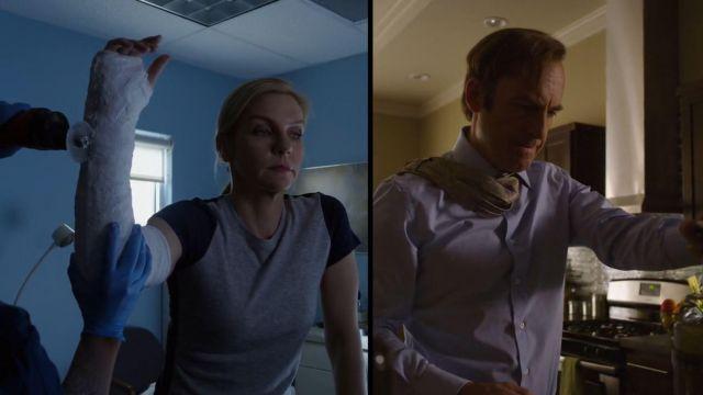 Deux-tone shirt (gris/marine) porté par Kim Wexler (Rhea Seehorn) comme on le voit au Mieux Appel Saul S04E07
