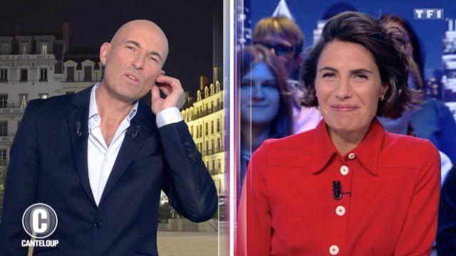 La chemise rouge portée par Alessandra Sublet dans C'est Canteloup du 23 octobre 2018