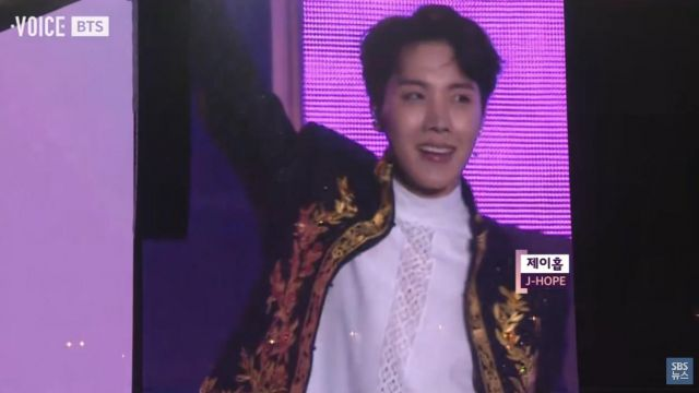 The embroidered jacket worn by J-Hope during a live