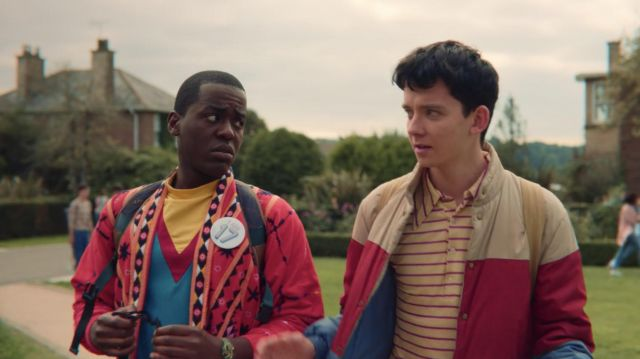 The jacket tricolor scope by Otis (Asa Butterfield) in Sex Education S01E05