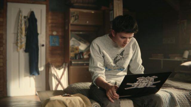 Birds Sweatshirt in Grey worn by Otis (Asa Butterfield) as seen in Sex Education S01E04