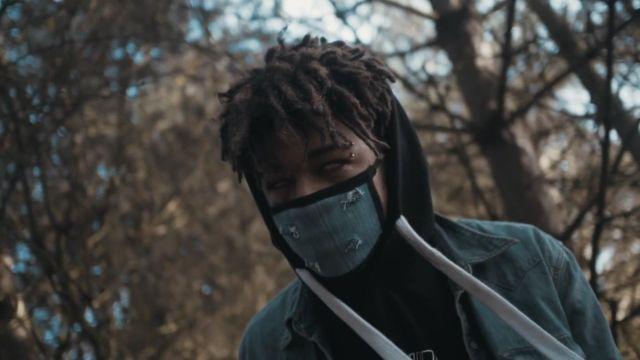 Denim mouth mask worn by Scarlxrd in his Lies YXU Tell music