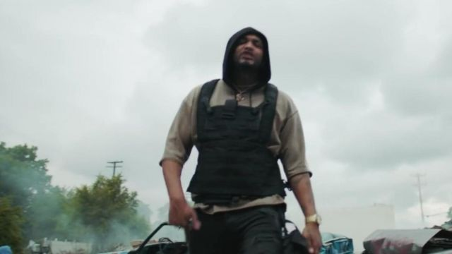 The vest by a bullet carried by Joyner Lucas in the clip
