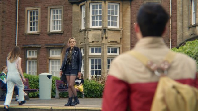Black leather boots worn by Maeve Wiley (Emma Mackey) in Sex Education S01E01