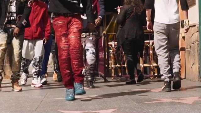 Red pants worn by YNW Melly as seen in his Virtual (Blue