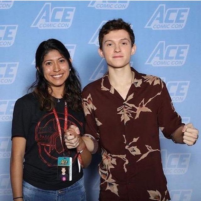 Floral print shirt worn by Tom Holland for Ace Comic Con