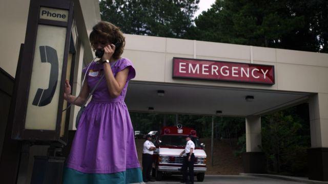 Purple dress worn by Nancy Wheeler (Natalia Dyer) in Stranger Things (S03E05)