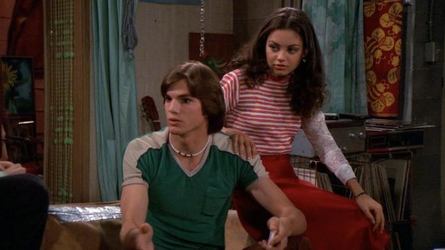 Stripped pink \u0026 white top worn by Jackie Burkhart (Mila