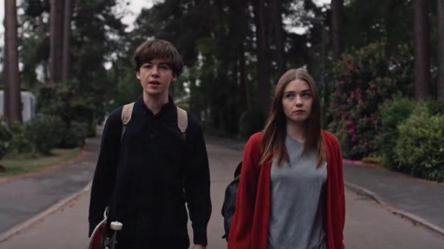 The vest red worn by Alyssa (Jessica Barden) in The End of the F***ing World (S01E01)