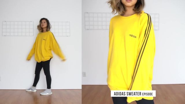 Adidas sweatshirt in yellow worn by Clothesnbits as seen in her Everyday Uni Outfits YouTube video