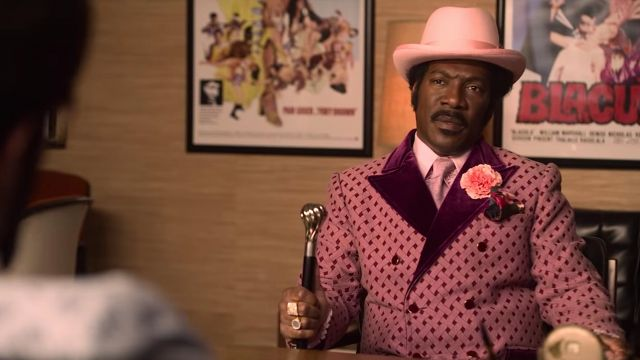 Pink Dots and Velvet Jacket worn by Rudy Ray Moore (Eddie Murphy) as seen in Dolemite Is My Name