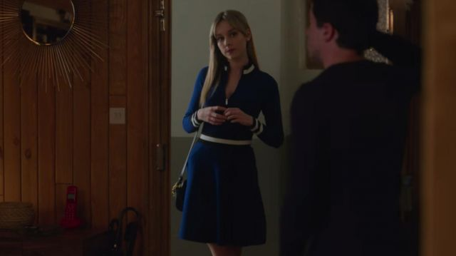 Blue zip up a line dress with white piping worn by Carla (Ester Expósito) in Elite (S02E04)