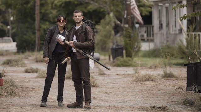 Brown leather jacket worn by Felix (Nico Tortorella) as seen in The Walking Dead New Series 2020 (S01)