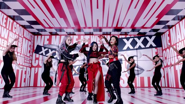 Red and black Crop Top worn by Wheein in Hip music video by MAMAMOO