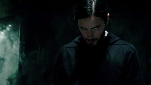 Black hoodie costume cosplay worn by Dr. Michael Morbius (Jared Leto) as seen in Morbius