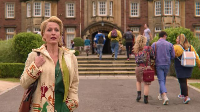 Cardigan worn by Jean Milburn (Gillian Anderson) in Sex Education (S02E03)