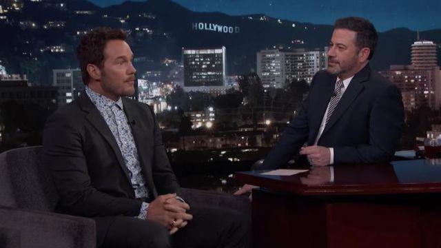 Patterned Shirt of Chris Pratt in Jimmy Kimmel Live