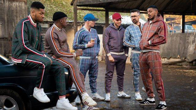 Light Blue Flannel Tracksuit with Brown accents wortn by the Coach (Colin Farrell) as seen in The Gentlemen movie