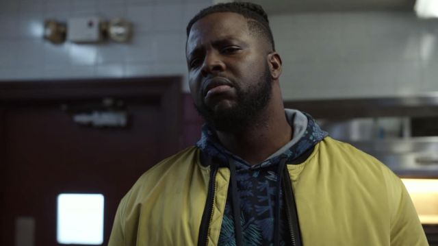 Yellow Bomber Jacket Worn By Hawk Winston Duke As Seen In Spenser Confidential Spotern