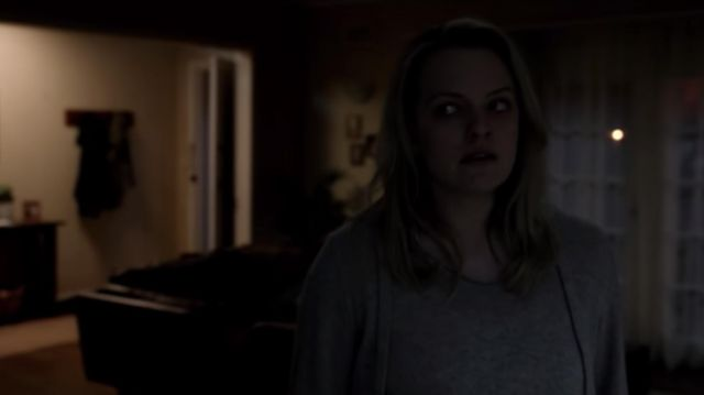 Gray cashmere v neck drawstring hoodie worn by Cecilia Kass (Elisabeth Moss) as seen in The Invisible Man