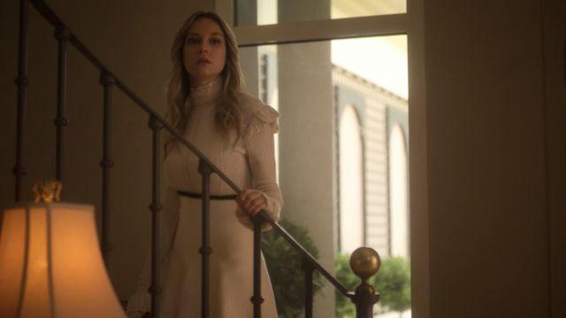 White dress worn by Carla (Ester Expósito) as seen in Elite (Season 3 Episode 2)