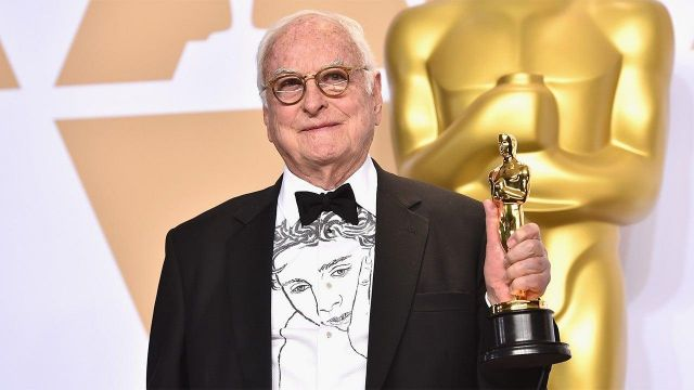 White shirt with a picture of Timothée Chalamet worn by James Ivory as seen in The Academy Awards