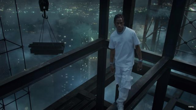 White cargo pants worn by Travis Scott in HIGHEST IN THE ROOM (Official Music Video)