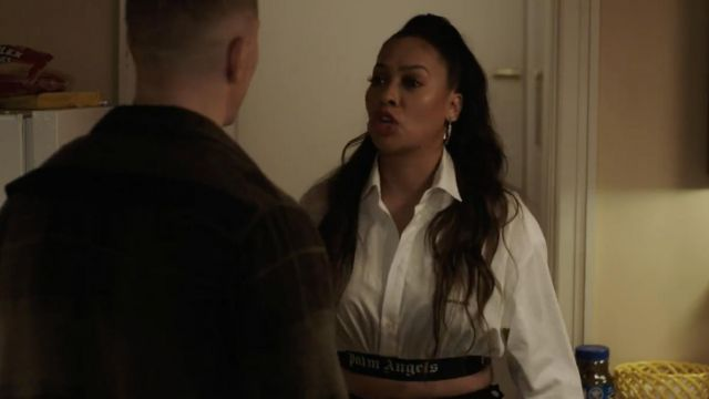 Palm Angels crop top worn by Lakeisha Grant (La La An­tho­ny) as seen in Power (Season 6 Episode 2)