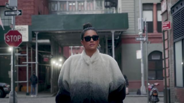 White to blue ombré coat worn by Shay Mitchell in NYC bound for my Perfume Collection w/ Cacharel | Shay Mitchell