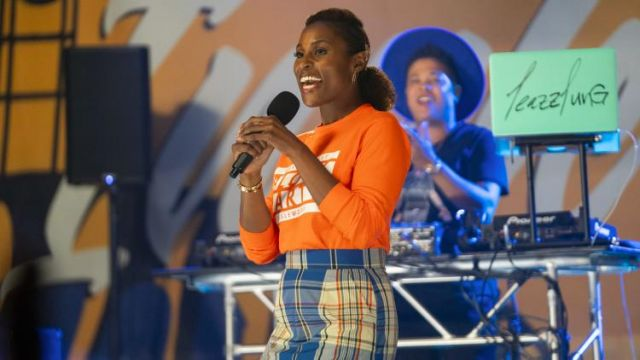 Long Sleeve Orange Block Party shirt worn by Issa Dee (Is­sa Rae) as seen in Insecure (Season 4 Episode 5)