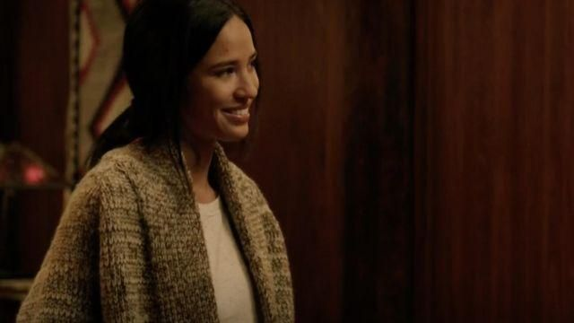 Chunky Knit Tribal Cardigan of Monica Dutton (Kelsey Chow) in Yellowstone (S03E01)