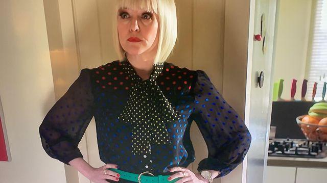 Black Bright Spot Blouse with Sheer Sleeves of Agatha Raisin (Ashley Jensen) in Agatha Raisin (S03E05)