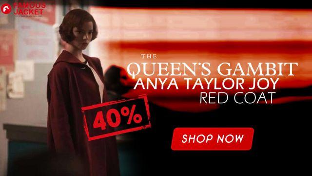 The Queens Gambit Red Coat worn by Anya Taylor Joy (Anya Taylor-Joy) in Creating The Queen's Gambit