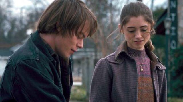 The purplish jacket of Nancy Wheeler  of Nancy Wheeler Natalia Dyer in Stranger Things