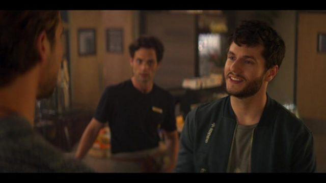 Adidas jacket of Forty Quinn (James Scully) in YOU (S02E07)