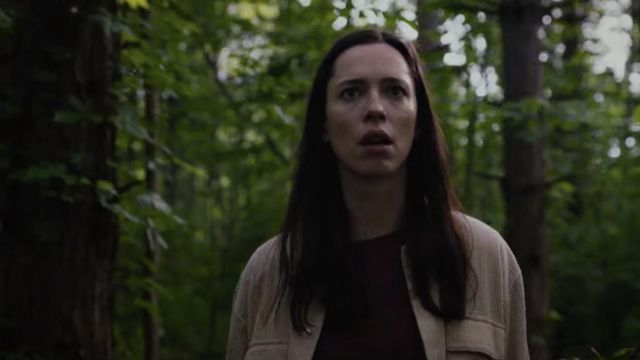Corduroy cardigan jacket worn by Beth (Rebecca Hall) as seen in The Night House movie