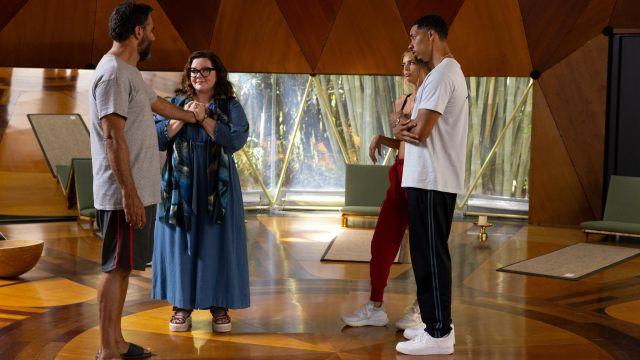 Blue jumpsuit or romper worn by Frances Welty (Melissa McCarthy) in Nine Perfect Strangers Tv series (Season 1 Episode 7)