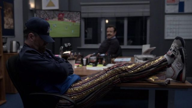 Goldy pants worn by Coach Beard (Brendan Hunt) as seen in Ted Lasso TV series outfits (S02E09)