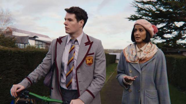 Periwinkle plaid coat worn by Emily Sands (Rakhee Thakrar) in Sex Education (S03E04)